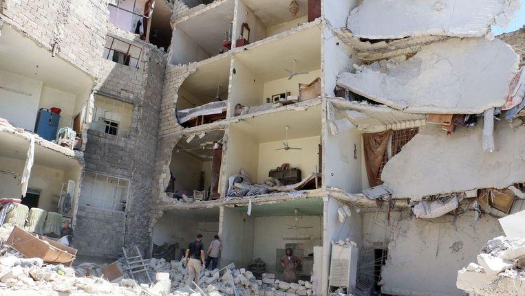 Verwoestingen in de Syrische hoofdstad Aleppo eerder deze week. Beeld afp
