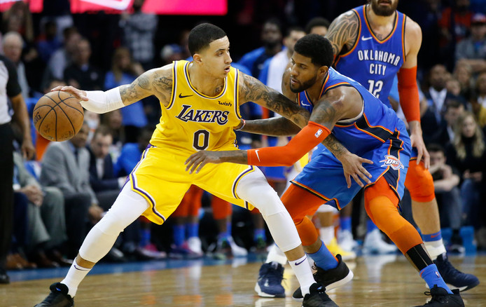 Kyle Kuzma (l) was goed voor 32 punten voor de Lakers.