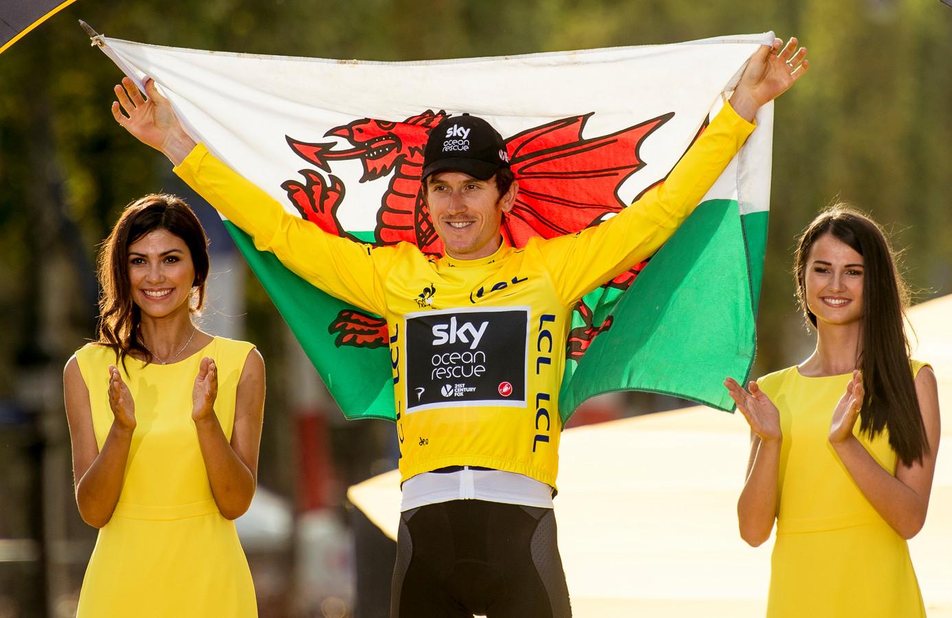 File photo dated 29-07-2018 of Team Sky's Geraint Thomas celebrates winning the Tour de France.