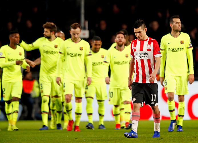 2018-2019: Hirving Lozano baalt na de 0-2 van Gerard Piqué. PSV speelt in eigen huis sterk tegen FC Barcelona, maar verliest toch met 1-2.