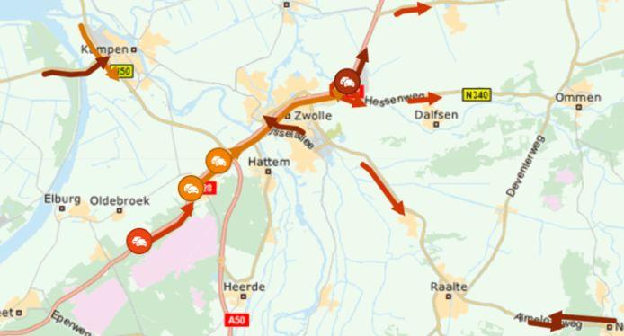 Ook rond Harderwijk, Kampen, Raalte en Zwolle liep het verkeer vast.