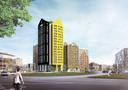 Hoogbouw in Eindhoven: Het Marconiplein krijgt een kleurrijke ensemble met de naam De Bakermat.