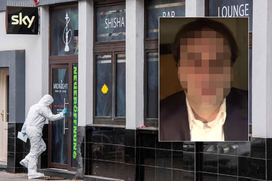 Een forensische speurder gaat de eerste shisha-lounge binnen waar verdachte Tobias Rathjen (inzet) toesloeg.