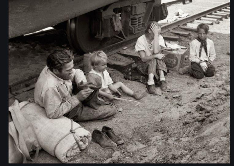 Hobo gezin tijdens de recessie in de jaren '30 van de vorige eeuw. Beeld web