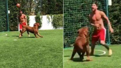 De 'Vlo' wint het van de hond: Messi dribbelt zijn trouwe (en vooral gigantische) viervoeter helemaal zoek