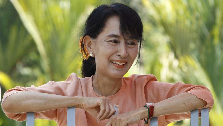 Aung San Suu Kyi op 16 april. Beeld epa