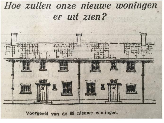 Ontwerp voor de huizen die in 1947 tussen Kromstraat en watertoren gebouwd moesten worden.