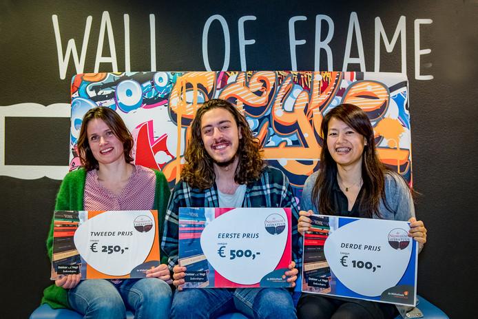 De winnaars van de Nijmeegse Literatuurprijs: Esther van Raaij, Jordi Lammers, Kwan Aben Lee.