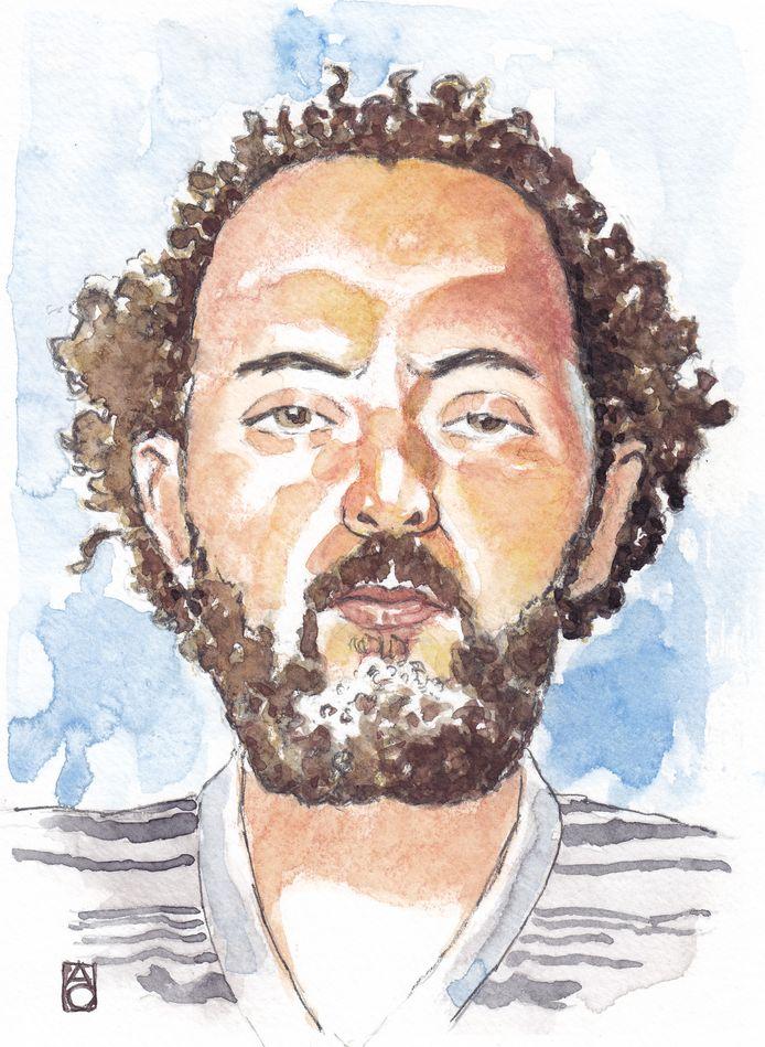 Een impressie van Ridouan Taghi. De 42-jarige Taghi wordt verdacht van betrokkenheid bij verschillende moorden.