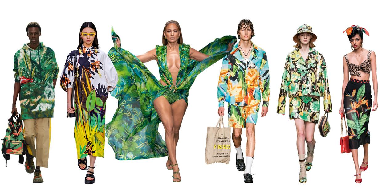 Vanaf links: Valentino, Valentino, Versace, MSGM, Fendi, Dolce & Gabbana Beeld Imaxtree
