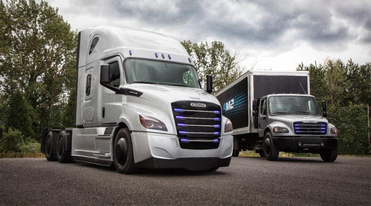 Daimler-dochter Freightliner komt met twee elektrische trucks die voorzien zijn van zware batterijen. Die moeten straks toch heel snel opgeladen kunnen worden. Beeld Daimler Trucks North America