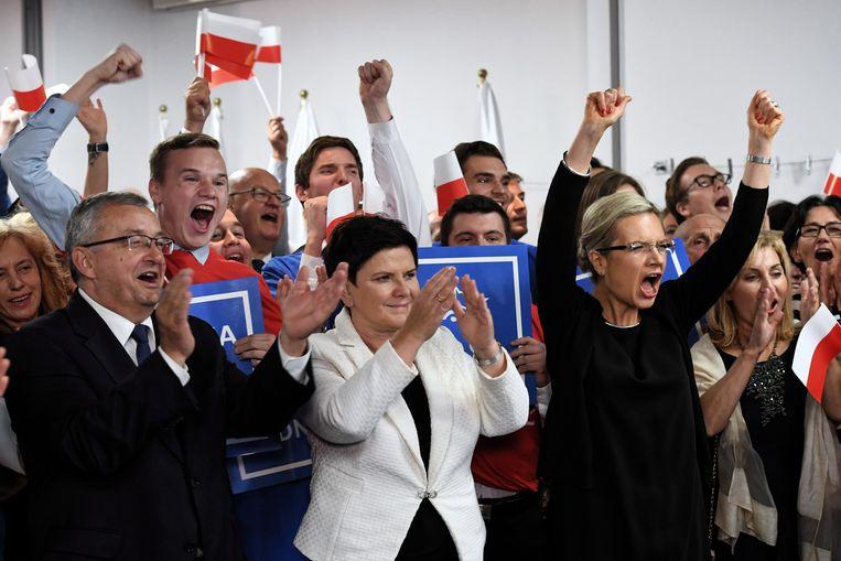 Leden van de regerende PiS vieren hun lokale verkiezingsoverwinning in Krakau, 21 oktober.  Beeld EPA