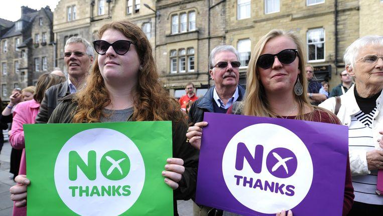 In Edinburgh komen nee-stemmers tegen Schotse onafhankelijkheid bijeen. Beeld afp