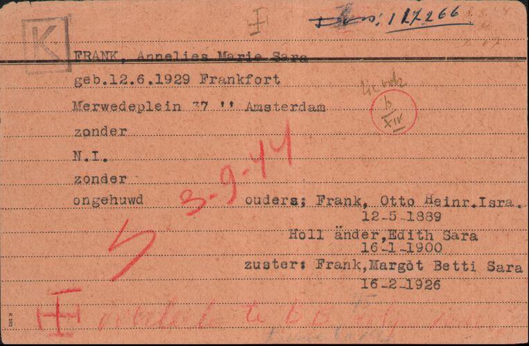 De registratiekaart van Anne Frank, afkomstig van de Joodsche Raad. Beeld Nederlandse Rode Kruis, Oorlogsarchief