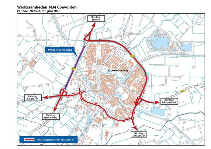 Afsluiting N34 en omleiding bij Coevorden.