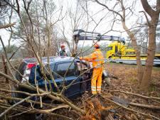 Automobilist (92) raakt bij Wezep van snelweg en belandt tussen bomen
