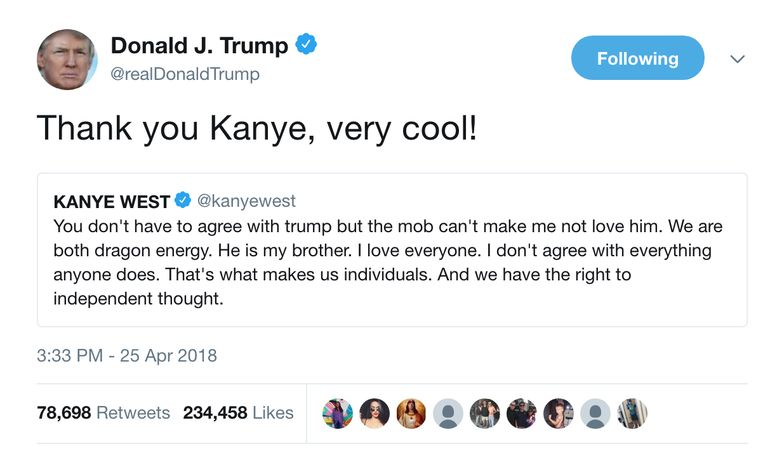 President Donald Trumps reactie op Kanye's tweet. Beeld