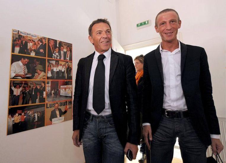 Jörg Haider en Stefan Petzner. Foto EPA/Barbara Gindl Beeld