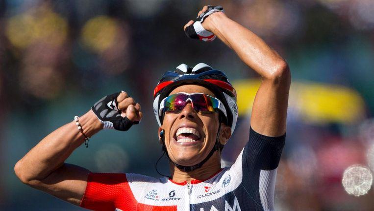 Het is de eerste zege in een grote ronde voor de Colombiaanse renner Pantano. Beeld ap