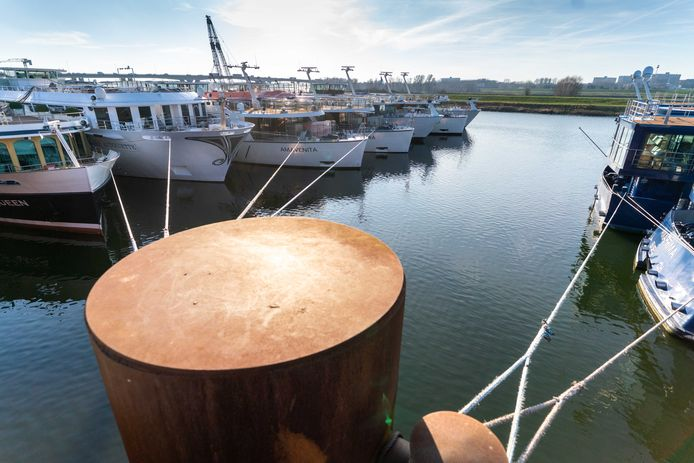 Cruiseschepen afgemeerd in de Nieuwe Haven. Er overwinteren meer dan 30 schepen in Arnhem.