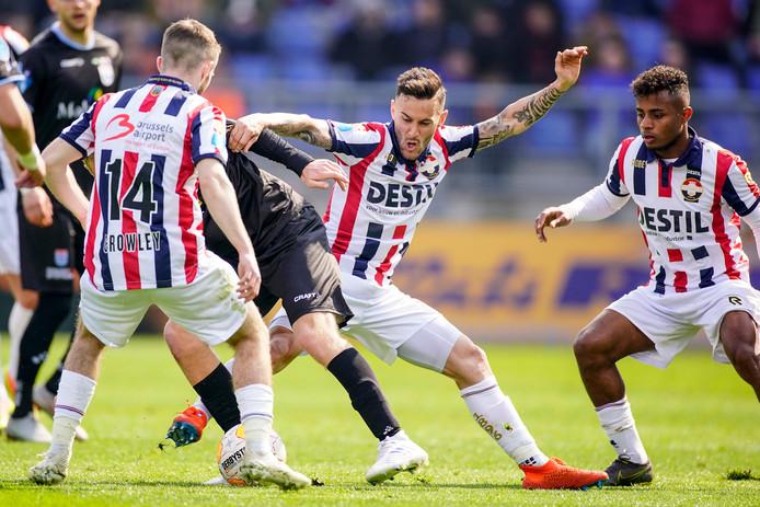 Willem II afgelopen seizoen in actie tegen PEC Zwolle.