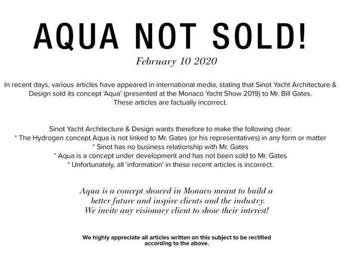 Sinot bericht op hun site dat ze jacht Aqua niet hebben verkocht.