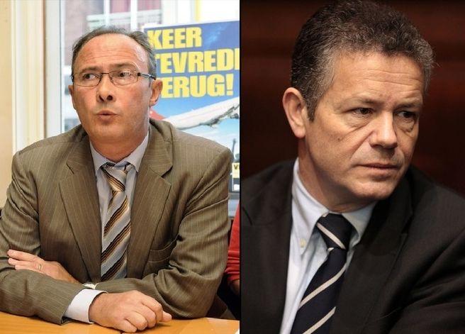 Huidig partijvoorzitter Bruno Valkeniers (links) naast voorganger Frank Vanhecke.