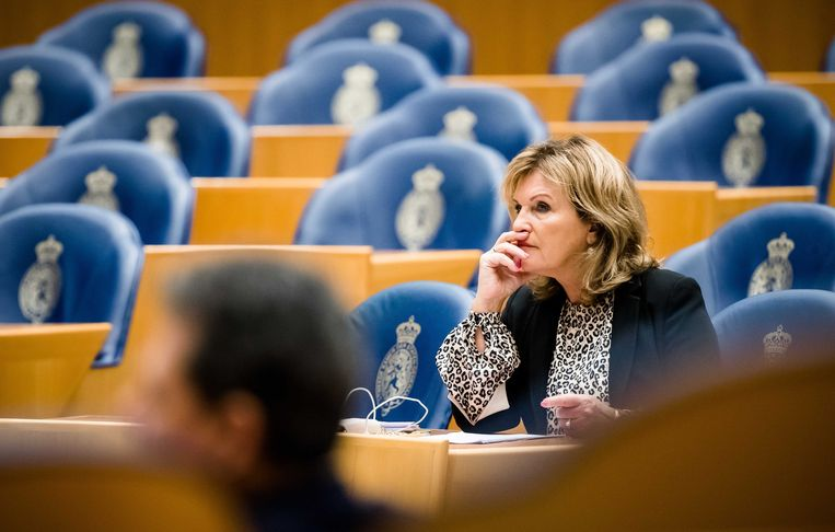 Pia Dijkstra (D66)  tijdens een debat begin dit jaar in de Tweede Kamer.  Beeld ANP