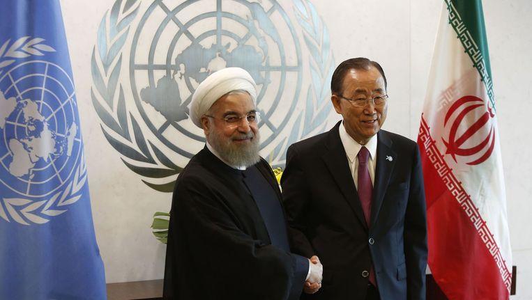 De Iraanse president Hassan Rouhani en de secretaris-generaal van de VN Ban Ki Moon Beeld anp