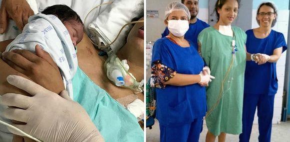 Links: het moment waarop Victor in haar armen gelegd wordt.