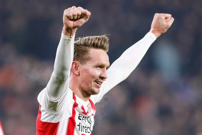 Luuk de Jong na zijn omhaal tegen FC Utrecht.