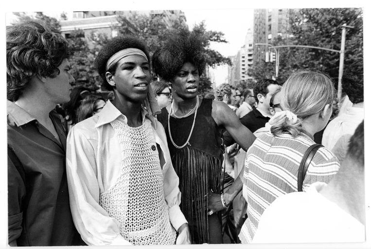 Een betoging in Washington Square in juli 1969, precies een maand na de ongeregeldheden bij de Stonewall Inn. Beeld Getty Images