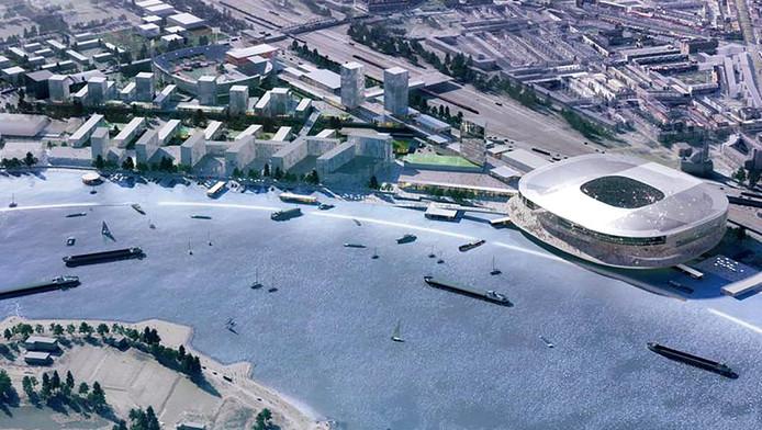 Een impressie van het nieuwe stadion van het bureau Office for Metropolitan Architecture van Rem Koolhaas.