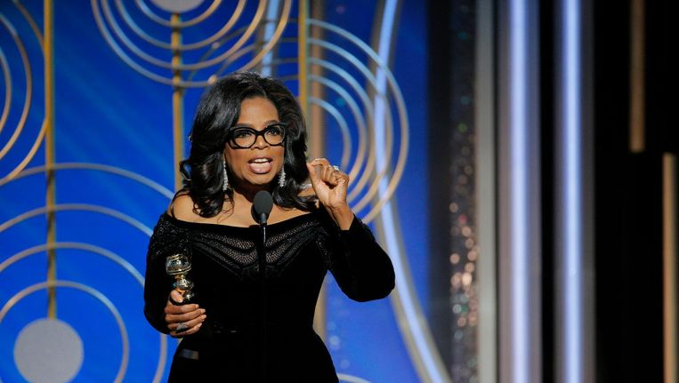 Oprah Winfrey speecht tijdens de uitreiking van de Golden Globes. Beeld ap