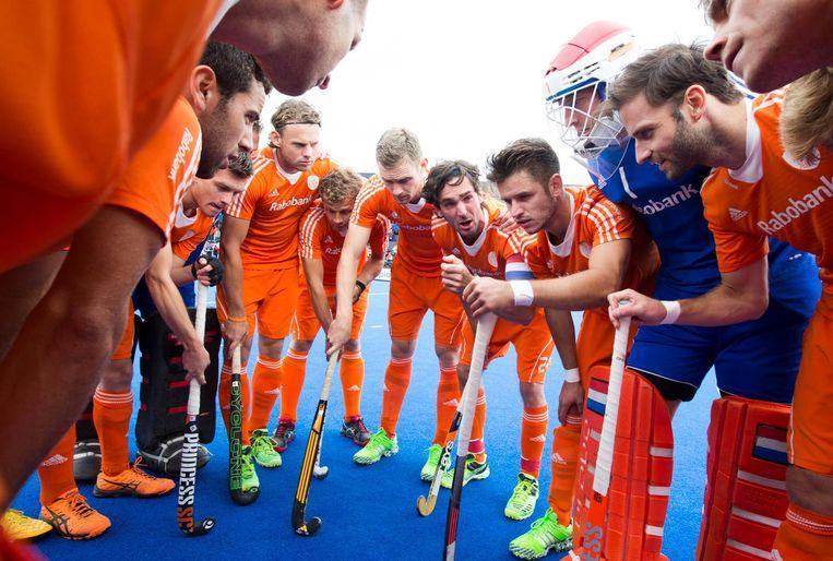 De Nederlandse hockeyers tijdens het EK in 2015. Beeld anp