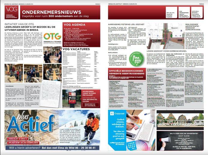 VOG heeft twee pagina's ingekocht in De Langstraat; rechts het gemeentenieuws