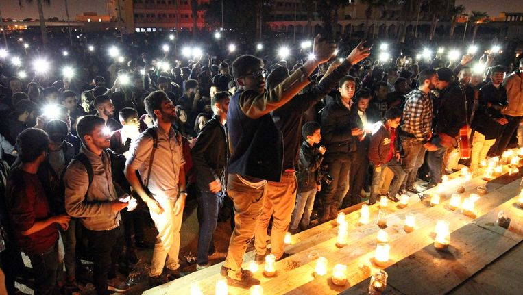 Abdullah Doma maakte vorige zaterdag deze foto naar aanleiding van 'Earth Hour' in Benghazi.