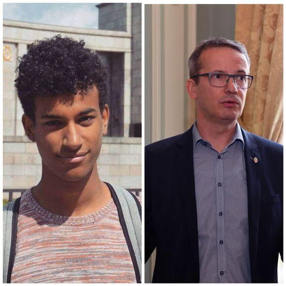 De overleden student Sanda Dia en rector Luc Sels