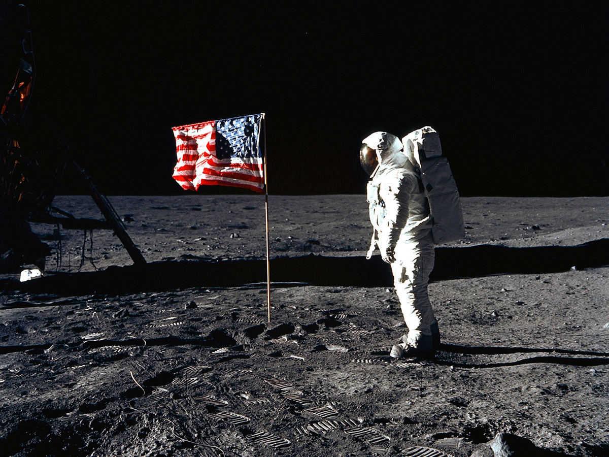 Neil Armstrong, de 'first man on the moon' tijdens de Apollo 11-missie