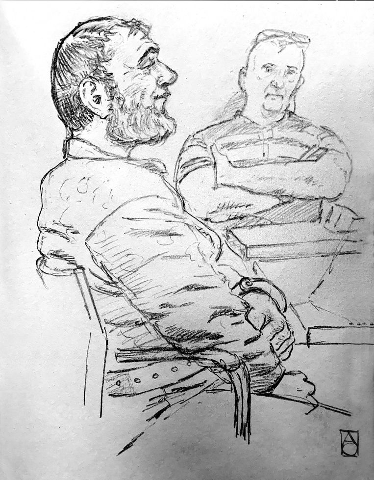 Een schets van verdachte Gokmen T. in de rechtbank maandag. Beeld ANP
