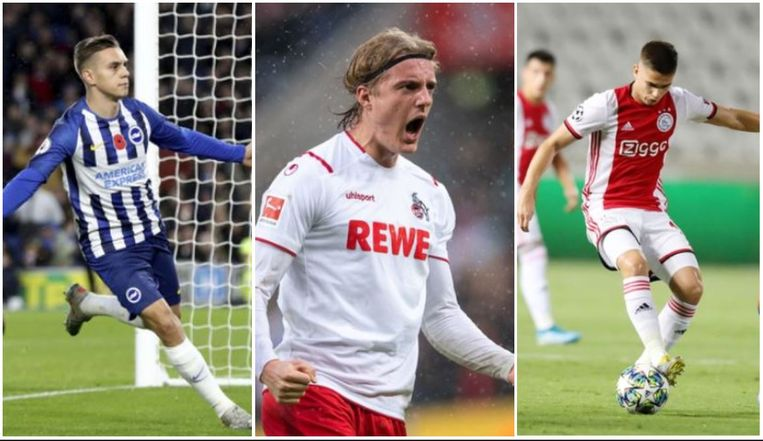 Van l naar r: Trossard, Bornauw en Marin.