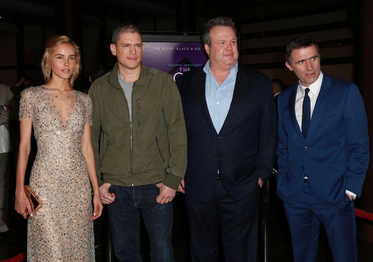 Isabel Lucas, Wentworth Miller, Eric Stonestreet en Erik Van Looy bij de première van 'The Loft'.
