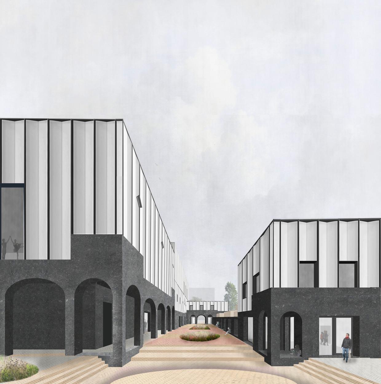 De Kunstwerf, Onderkomen van vier culturele gezelschappen met publiek binnenhof, op het Cibogoterrein Groningen 2017, in samenwerking met Ard de Vries. Ontwerp: Donna van Milligen Bielke