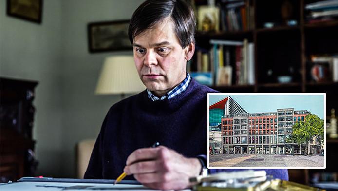 De 49-jarige autistische Kees Momma aan het werk. Inzetje: de tekening van appartementsgebouw De Vredenburg