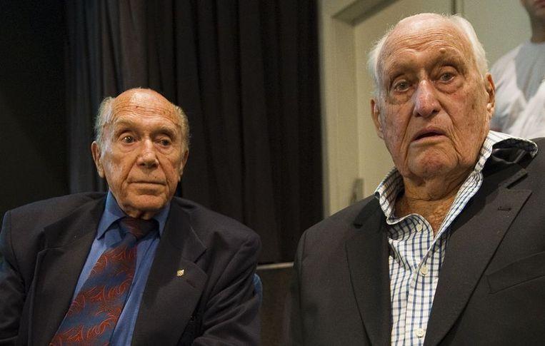 Oud-FIFA-voorzitter Havelange (rechts), eerder deze maand in gesprek met de vicevoorzitter van het Braziliaans Olympisch Comité André Richer. Beeld null
