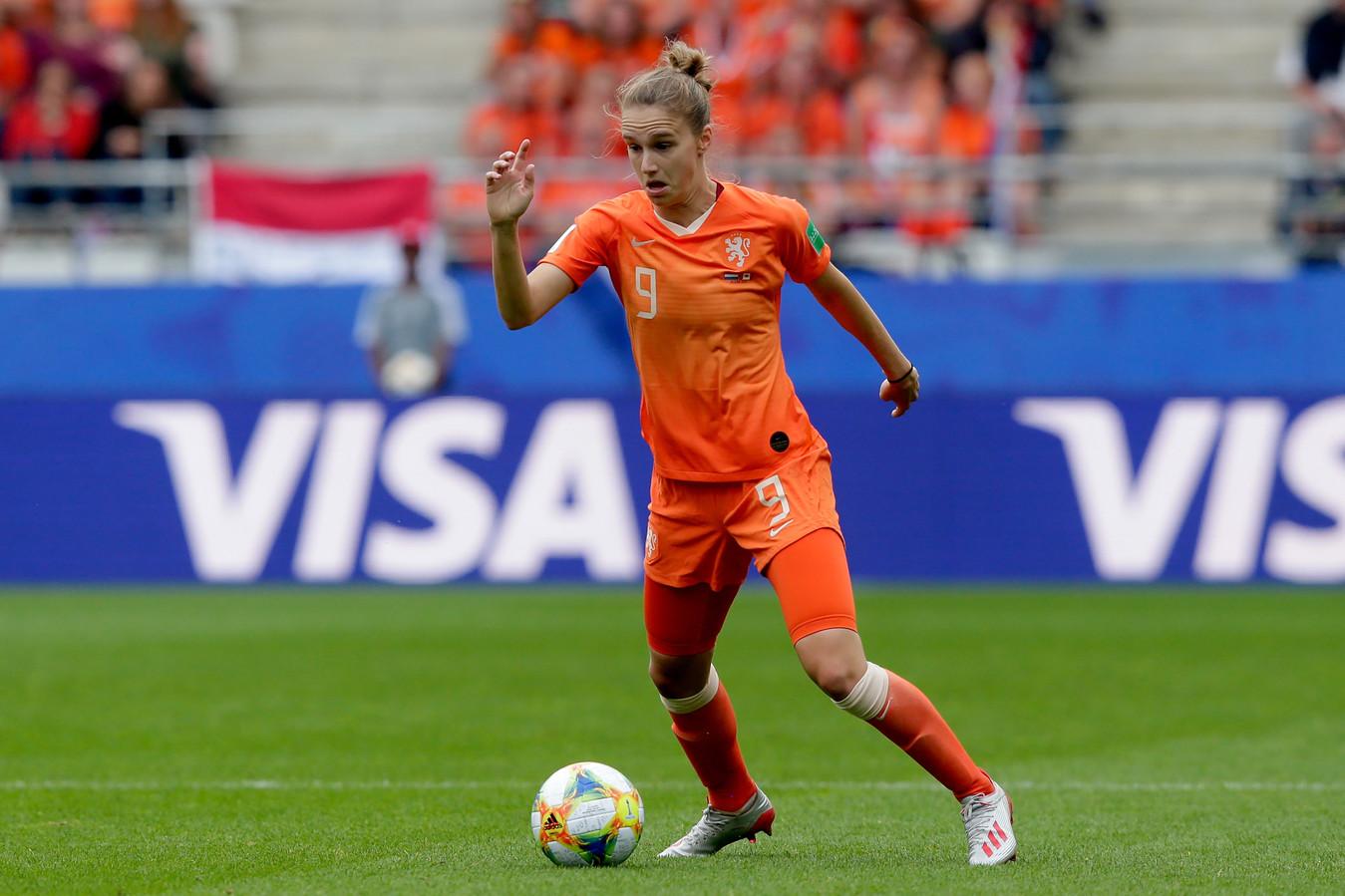 Vivianne Miedema tijdens de WK-wedstrijd tegen Canada.