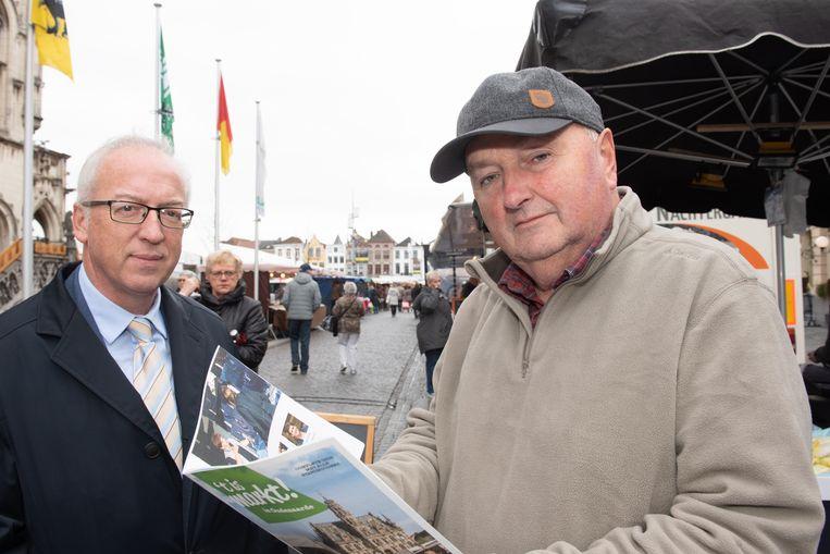 Voorzitter van de marktcommissie Marc Monsieur en burgemeester Marnic De Meulemeester (Open Vld) met de brochure.