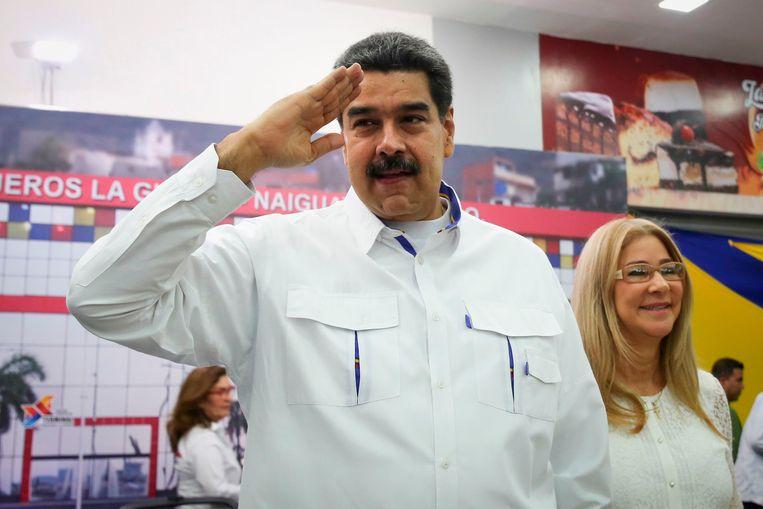 De Venezolaanse president Nicolas Maduro en zijn vrouw.