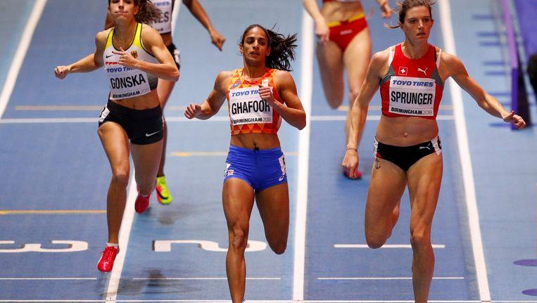 Madiea Ghafoor (hier op archiefbeeld) kwalificeerde zich voor de 200 m op het EK atletiek in augustus Beeld Proshots/ Action Images