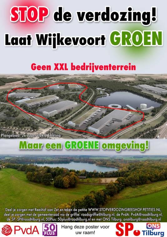 Reeshof Aan Zet verspreidde eerder samen met oppositiepartijen PvdA, 50PLUS, SP en ONS Tilburg een poster als protest tegen Wijkevoort.